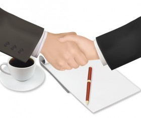 handshake with notepad_and pen shut business vector 01