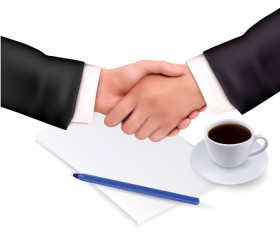 handshake with notepad_and pen shut business vector 02