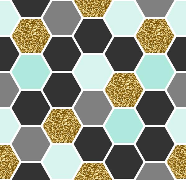 hexagon pattern seamless vector set 03