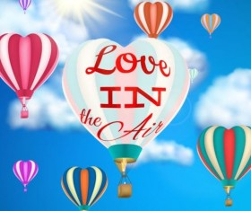 hot air balloon with love and sky background vector 01