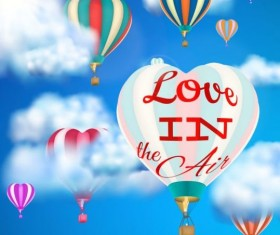 hot air balloon with love and sky background vector 02