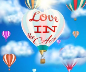 hot air balloon with love and sky background vector 03