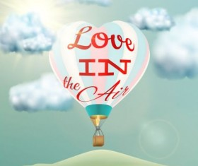 hot air balloon with love and sky background vector 04