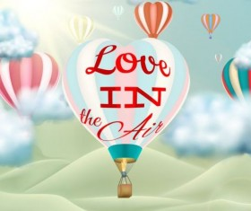 hot air balloon with love and sky background vector 05