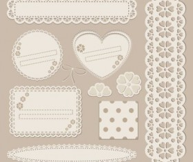 lace card with frame decor vector 02