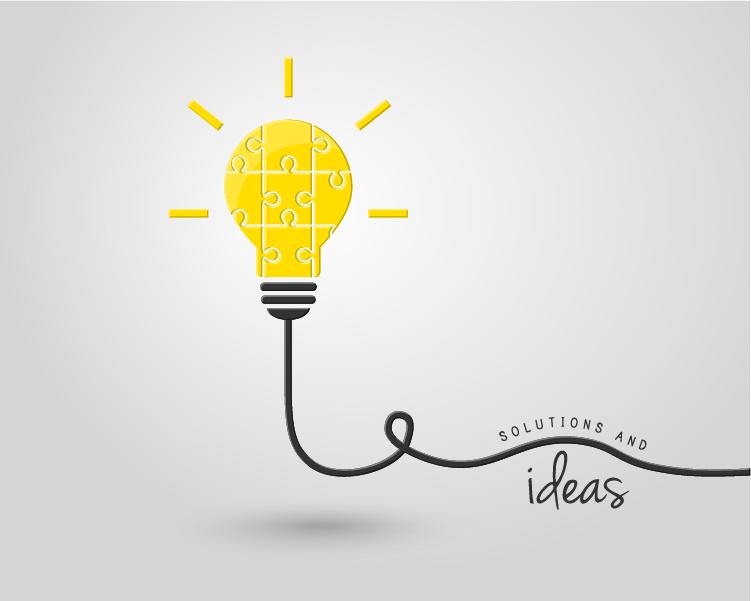 light bulb with ideas vector template 11