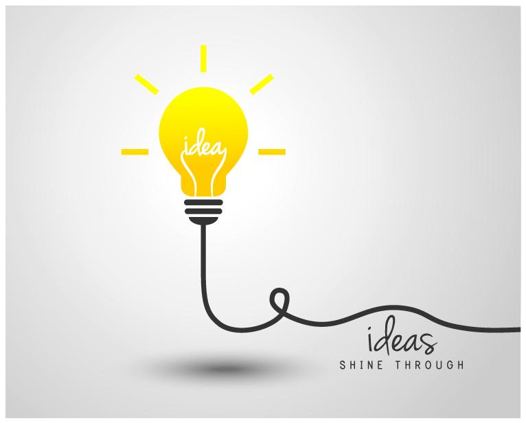 light bulb with ideas vector template 15