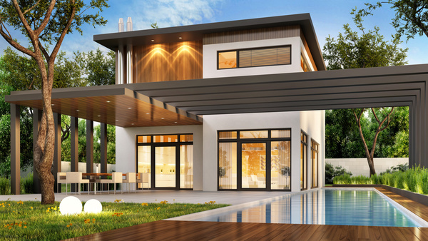luxury houses with yellow light in modern villa at night 01 HD picture