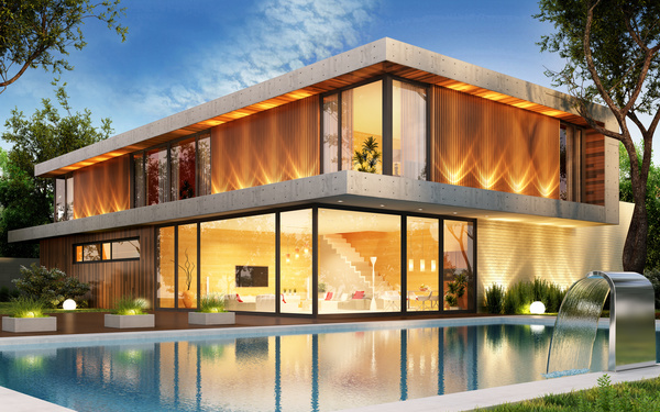 luxury houses with yellow light in modern villa at night 02 HD picture
