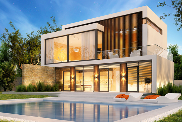 Luxury houses with yellow light in modern villa at night for Modern yellow houses
