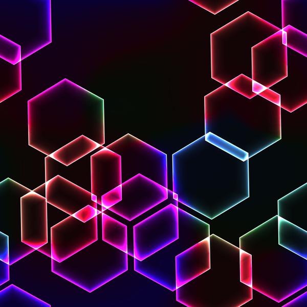 neon pink exagon background vector