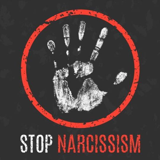 stop narcissism sign vector