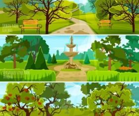 urban park landscapes vector material 01