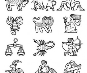 zodiac outlines icons set