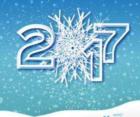 2017 Christmas greeting cards with paper cut vector
