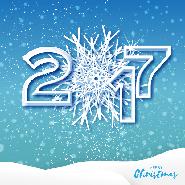 2017 Christmas greeting cards with paper cut vector - Vector Card ...