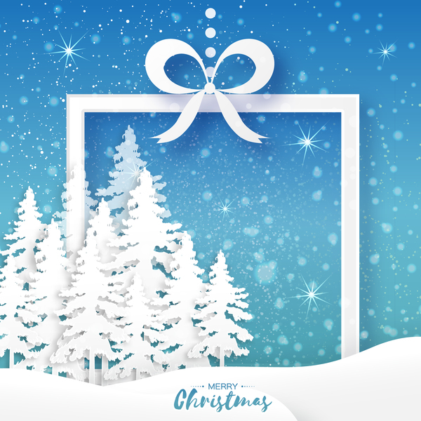 2017 Christmas paper cut with greeting cards vector 06 - Vector ...