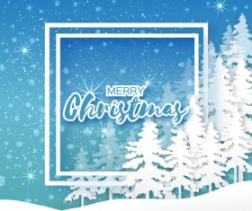 2017 Christmas paper cut with greeting cards vector 07