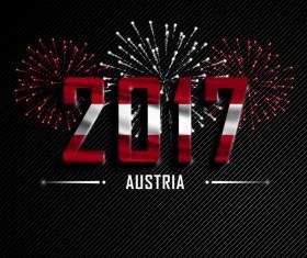 2017 New Year Austria vector background