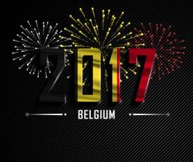 2017 New Year Belgium vector background