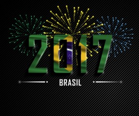 2017 New Year Brasil vector background