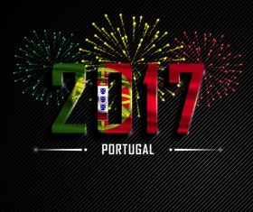 2017 New Year Portugal vector background