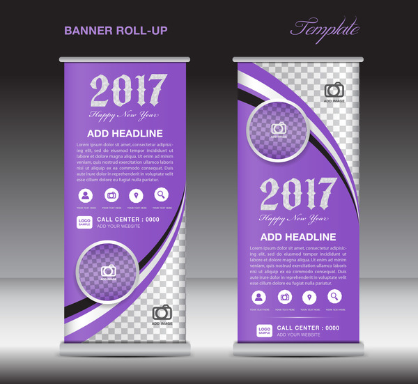 2017 Banner Roll Up Flyer Stand Template Vector 08 Free Download