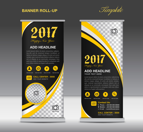 2017 banner roll up flyer stand template vector 10 free. Black Bedroom Furniture Sets. Home Design Ideas