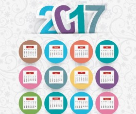 2017 calendar template with floral background vector