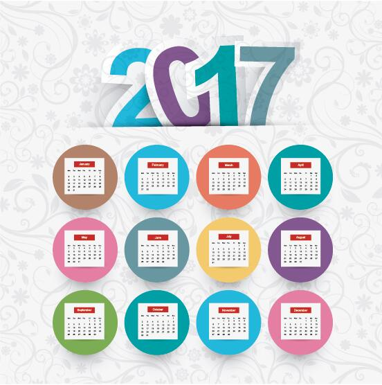 2017 Calendar Template With Floral Background Vector Free Download