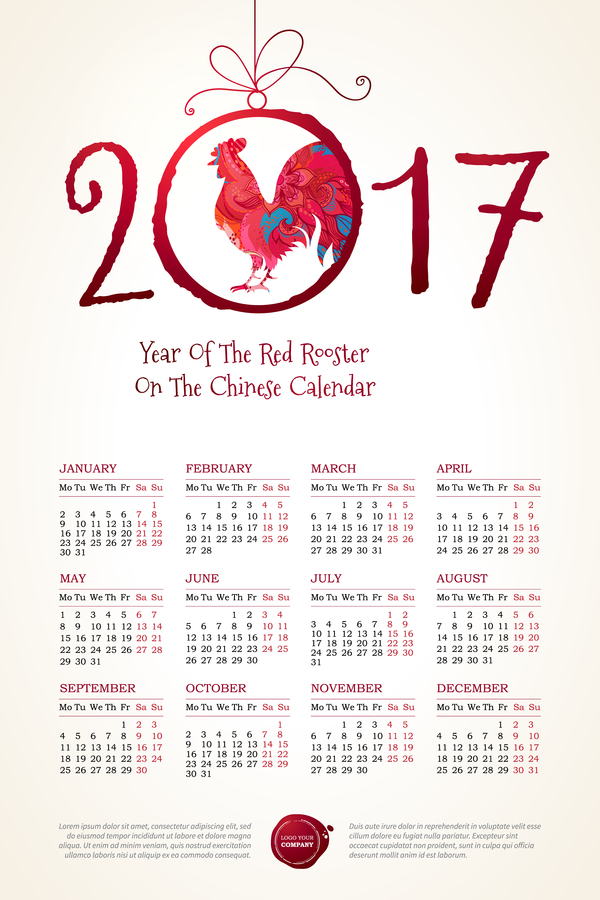 Calendar Rooster 2017 Vector Template 03 Free Download