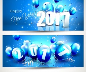 2017 new year banner with blue balloons vector