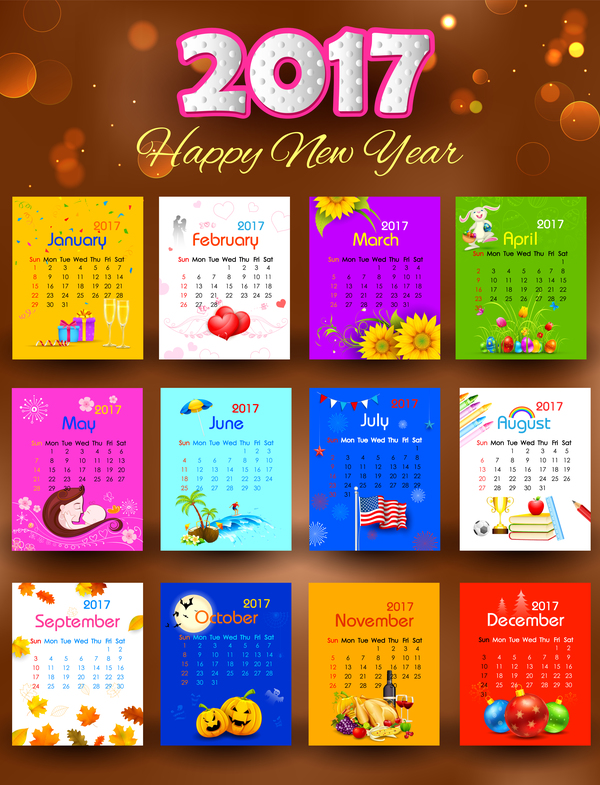 2017 new year calendar colored vector