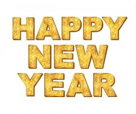 2017 new year golden text design vector 01