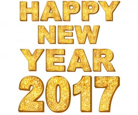 2017 new year golden text design vector 02