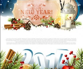 2017 new year label with clock and greenting card vector
