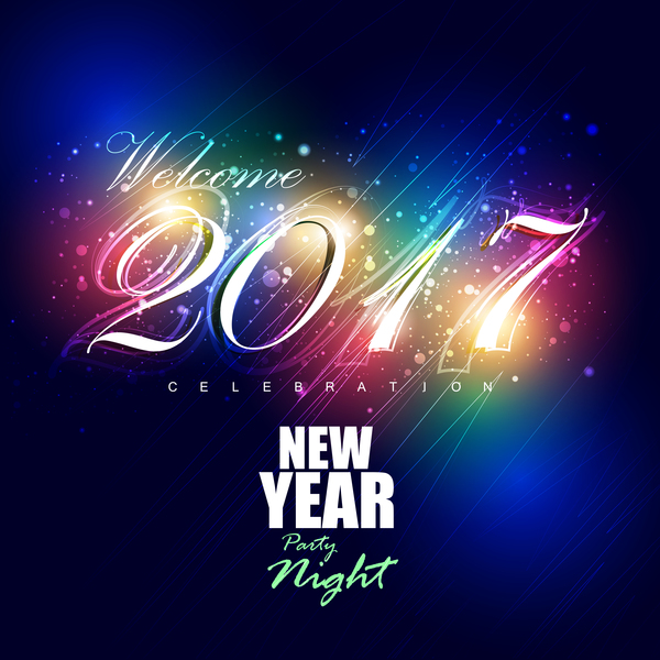 2017 New Year Night Party Poster Template Vectors 04 - Vector