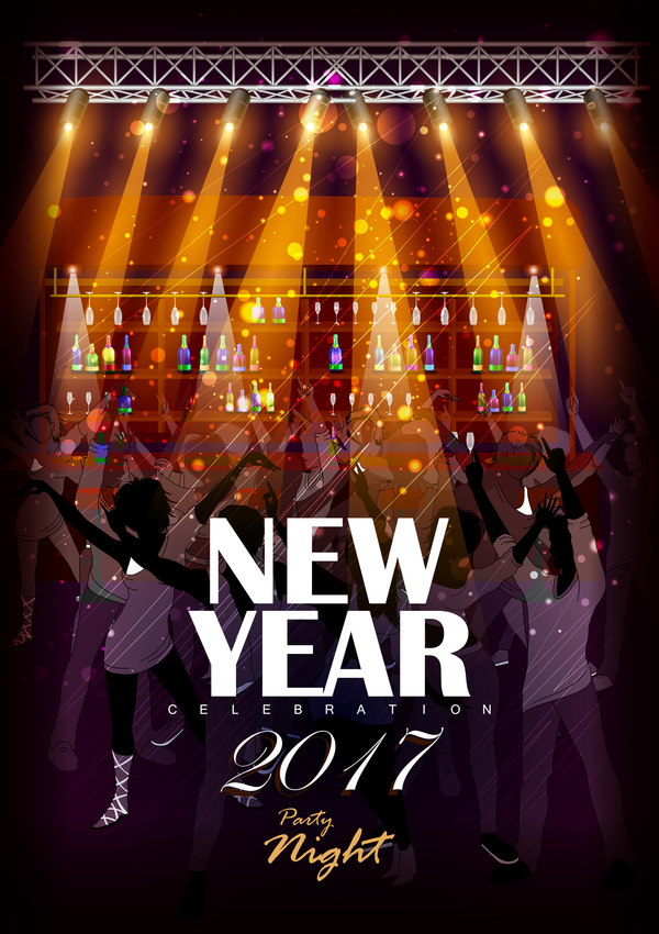 2017 New Year Night Party Poster Template Vectors 06