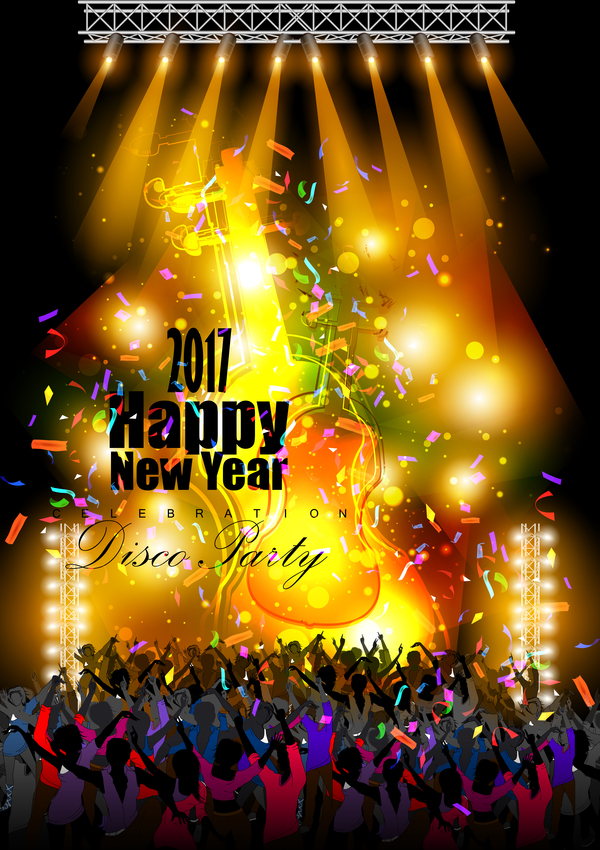 2017 New Year Night Party Poster Template Vectors 15 - Vector