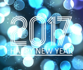 2017 new year with halation background vector