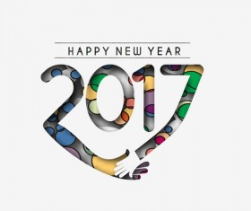 2017 new year creative background set vector 10