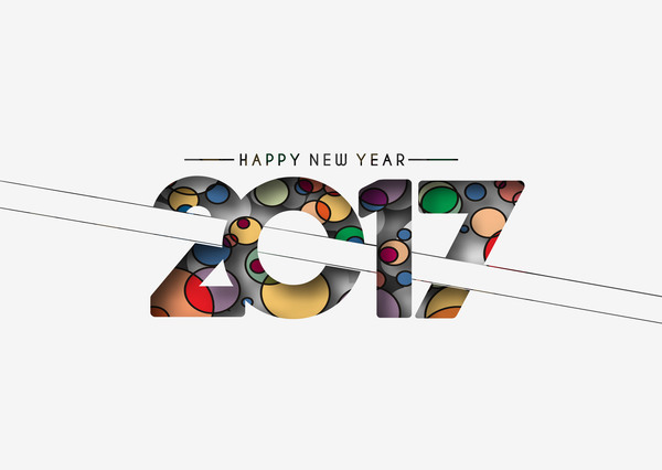 2017 new year creative background set vector 11