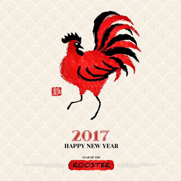 2017 year of the rooster vector material 02
