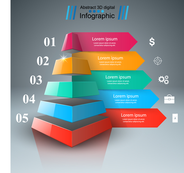 3d infographic arrows colored vector