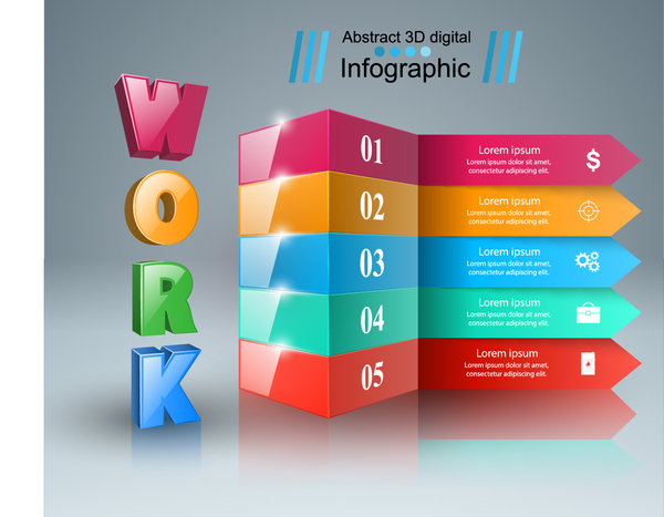 3d work five box infographic vector 01