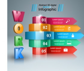 3d work five box infographic vector 02