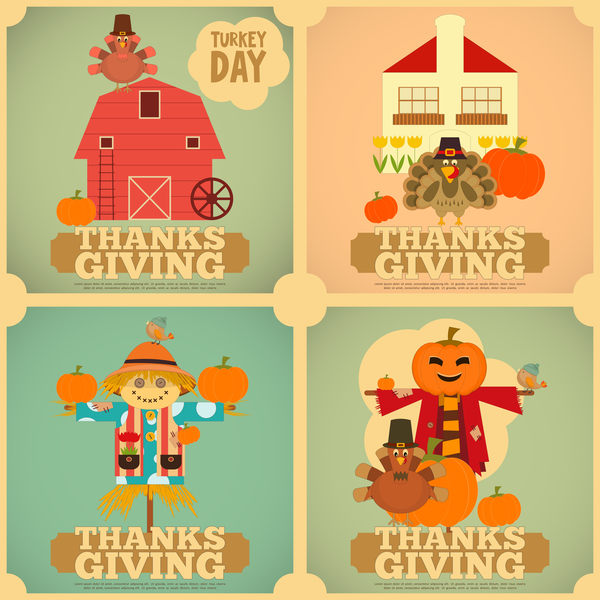 4 Kind thanksgiving poster template vector