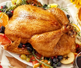 A delicious roast turkey on the Thanksgiving table Stock Photo