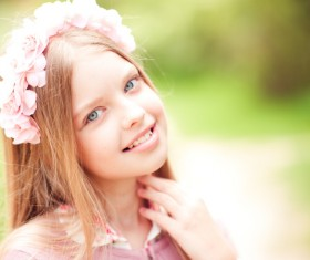 A little girl with blonde hair