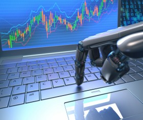 A manipulator that operates a computer Stock Photo